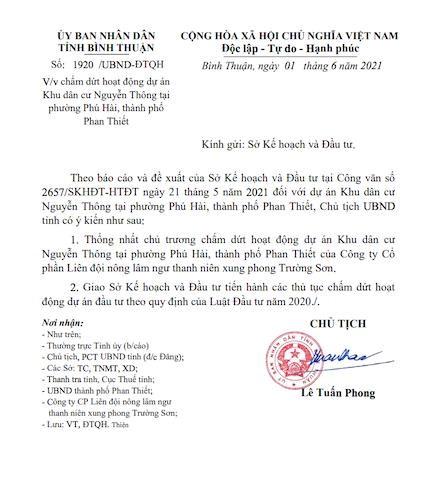 Văn bản của UBND tỉnh Bình Thuận.