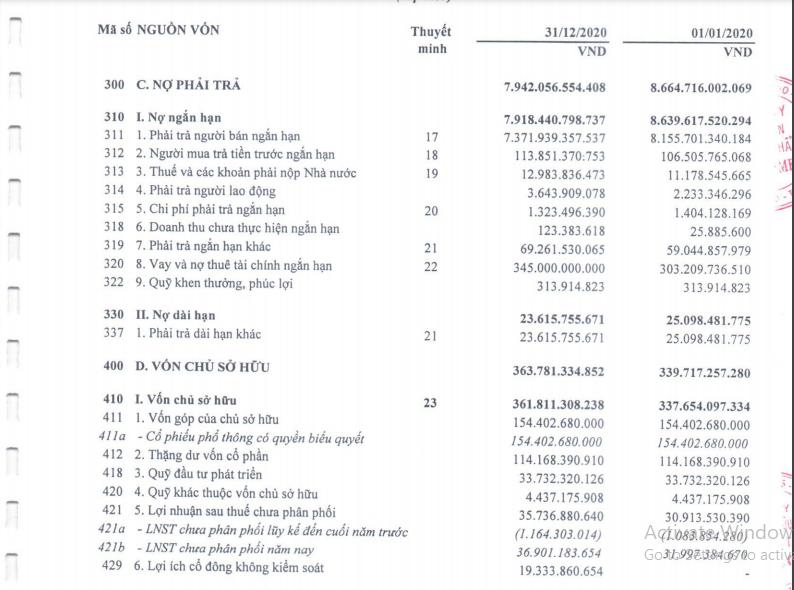 Nợ phải trả lớn hơn 23 lần vốn chủ sở hữu (BCTC của Vimedimex năm 2020)