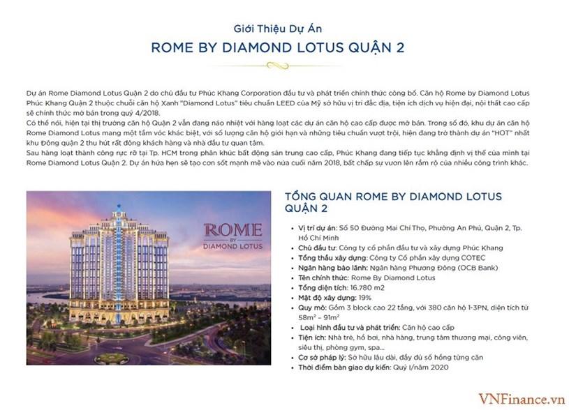 Các thông tin quảng cáo dự ánRome Diamond Lotus thời điểm rao bán rầm rộ năm 2018.