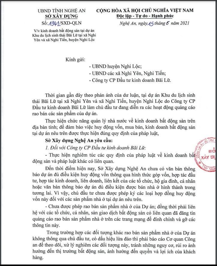 Văn bản của UBND tỉnh Nghệ An.