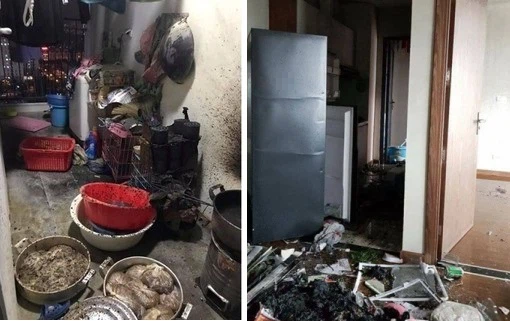 Hậu quả của việc đốt vàng mã và đun nấu bằng than tổ ong ở chung cư.