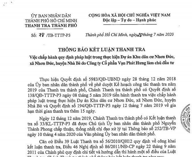 Thông báo Kết luận của Thanh tra TPHCM chỉ ra hàng loạt sai phạm của Cty Vạn Phát Hưng