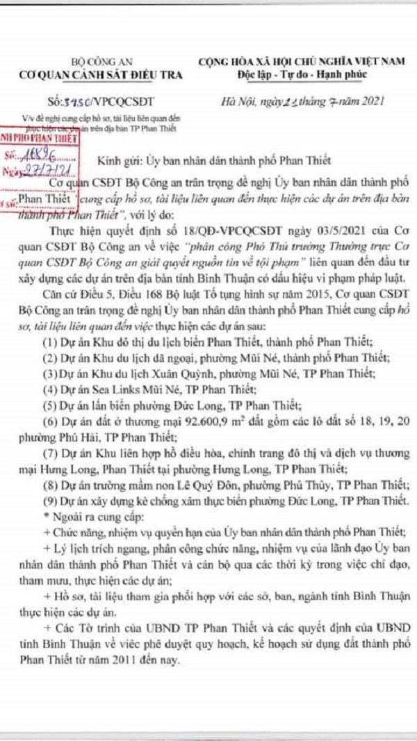Bộ Công an đề nghịcung cấp hồ sơ, tài liệu liên quan đến việc thực hiện 9 dự án trên địa bàn thành phố Phan Thiết.