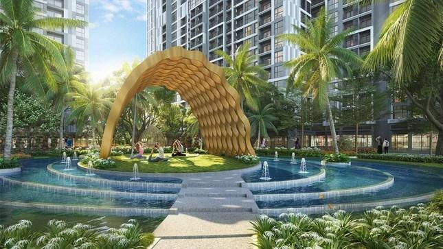 Đảo Yoga xanh mướt trên mặt nước giữa lòng ốc đảo xanh sinh thái nằm ngay dưới chân tòa P4 - The Pavilion
