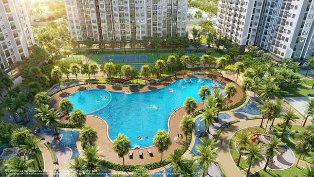 Phân khu The Miami lấy cảm hứng từ thiên đường nghỉ dưỡng Miami (Mỹ), mang phong cách sống nghỉ dưỡng nhiệt đới sôi động với bể bơi ngoài trời rộng tơi 1000m2