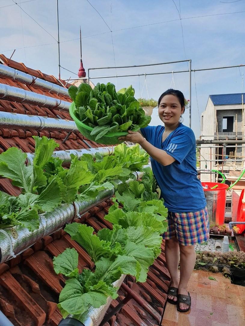 """Với chị Lĩnh, vườn rau được xem như đứa con tinh thần trong những ngày dịch bệnh căng thẳng: """"Mỗi lần nhìn ngắm vườn rau xanh, trong tôi luôn có một nguồn năng lượng tích cực, vừa giúp cải thiện về nguồn thực phẩm sạch, vừa giúp giải tỏa tinh thần, mang đến niềm vui cho cả gia đình."""""""