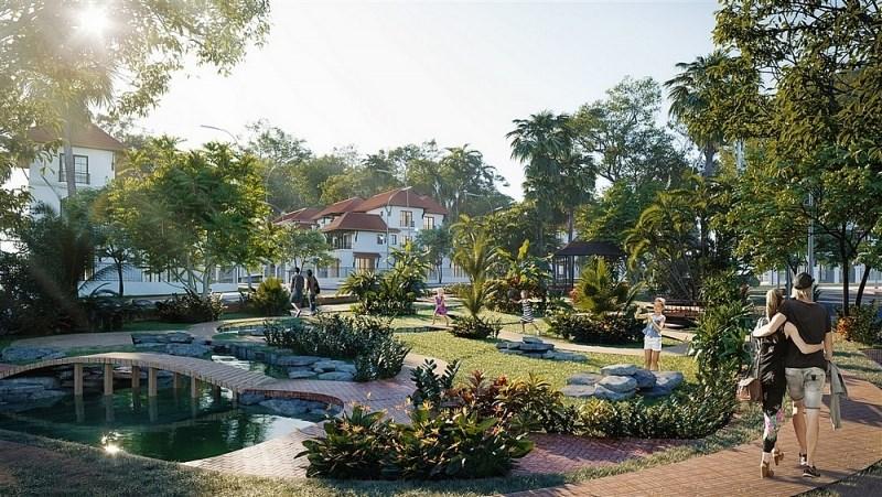 Không gian xanh cùng hệ thống tiện ích wellness là điểm nhấn ấn tượng của Sun Tropical Village. (Ảnh phối cảnh minh họa).