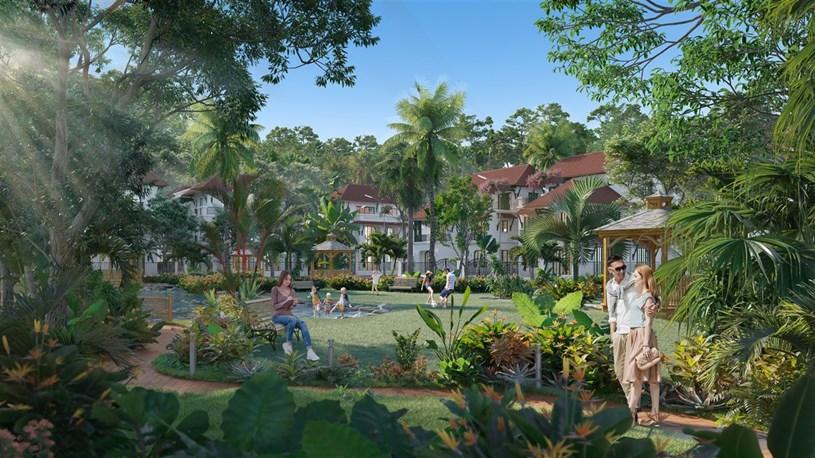 Phân khu Tropical Park sở hữu không gian xanh đáng mơ ước (Ảnh phối cảnh minh họa).