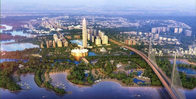 Phối cảnh siêu dự án thành phố thông minh (272ha) ở Đông Anh, Hà Nội do BRG Group và Sumitomo Nhật Bản làm chủ đầu tư. Ảnh: Sàn Đất Xanh Miền Bắc