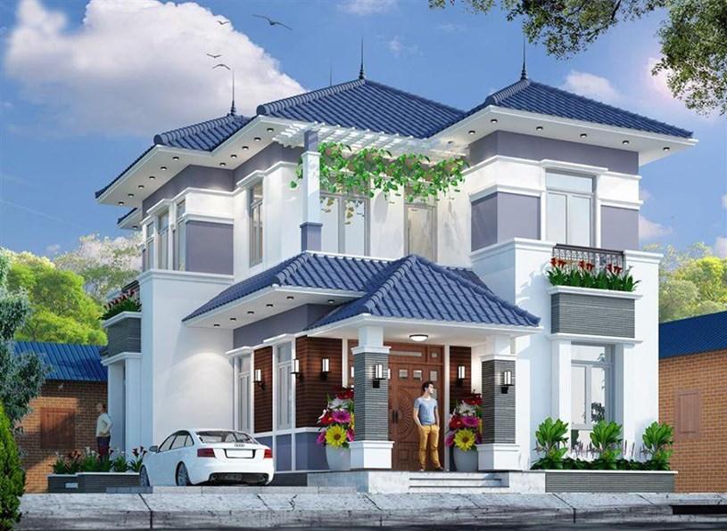 Mẫu nhà mái Nhật 2 tầng rộng lớn cho đại gia đình sinh sống.