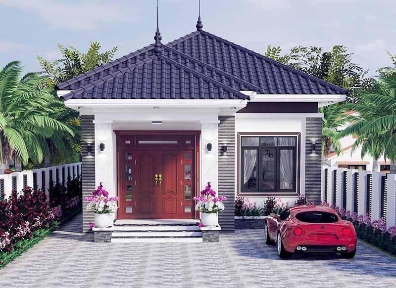 Nhà cấp 4 mái Nhật có diện tích nhỏ dành cho các cặp vợ chồng mới cưới hoặc gia đình 3 người ở với chi phí xây dựng ít.