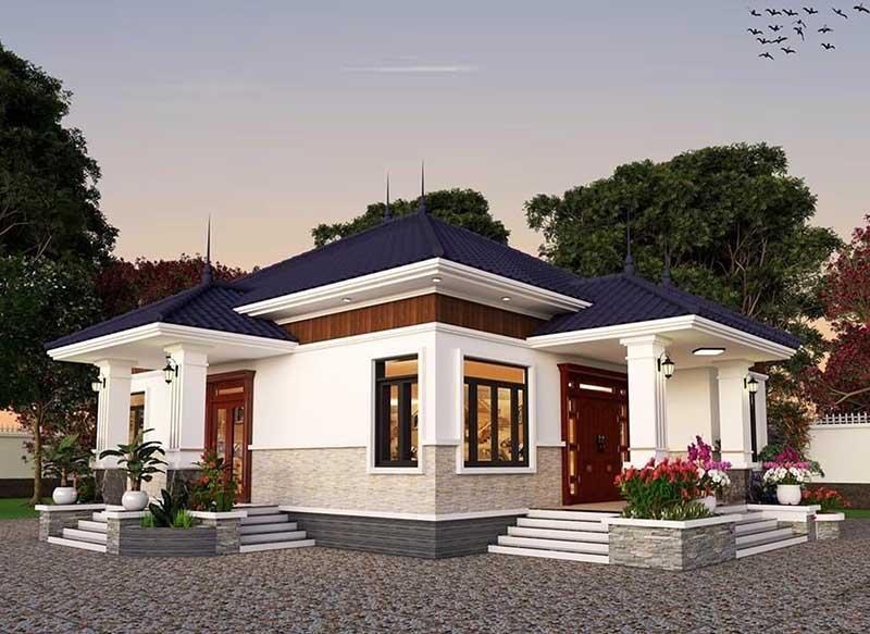 Mẫu nhà mái Nhật 1 tầng với sân vườn rộng rãi, thoáng mát.
