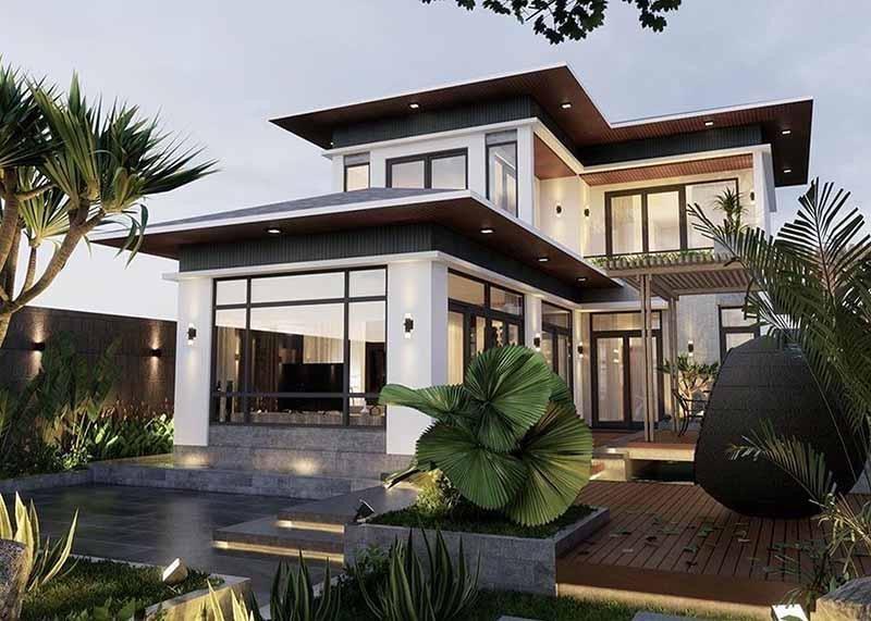 Nếu không thích các thiết kế truyền thống có thể tham khảo mẫu nhà mái Nhật 2 tầng theo phong cách hiện đại, tiện nghi.