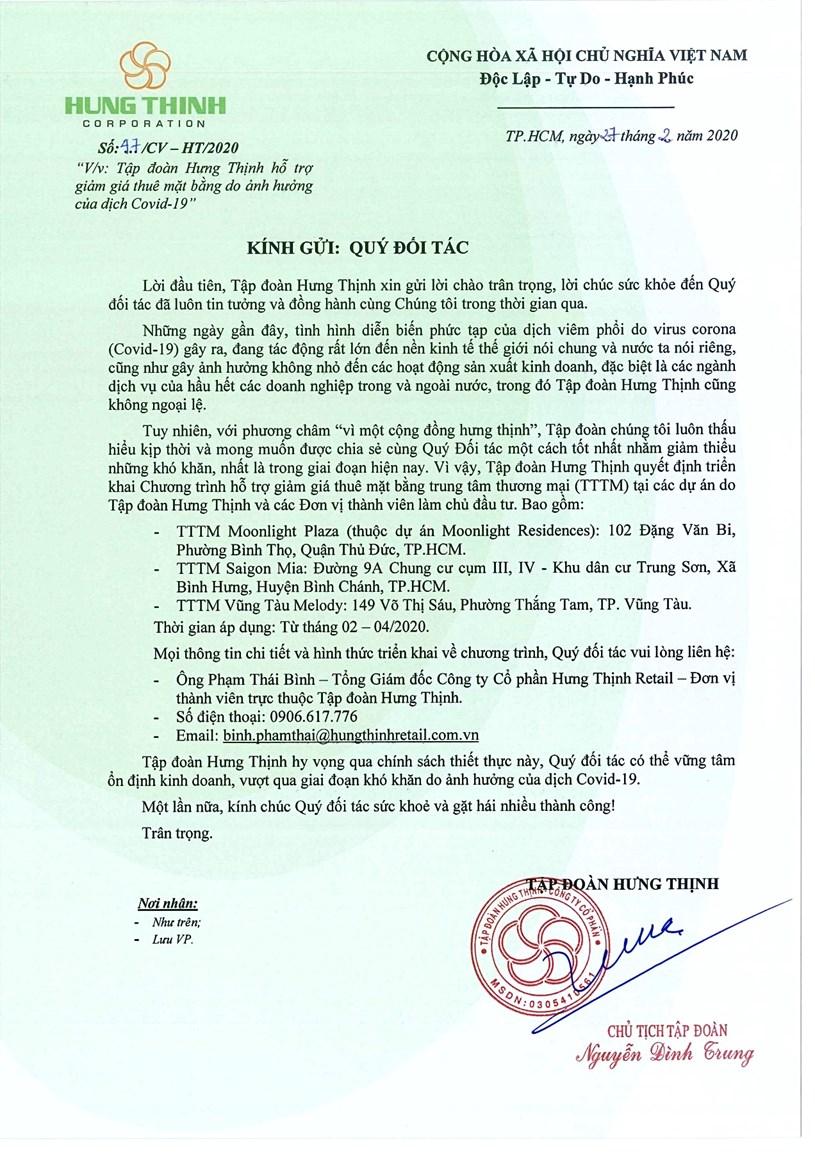 Công văn hỗ trợ giảm giá thuê mặt bằng cho các đối tác của Tập đoàn Hưng Thịnh