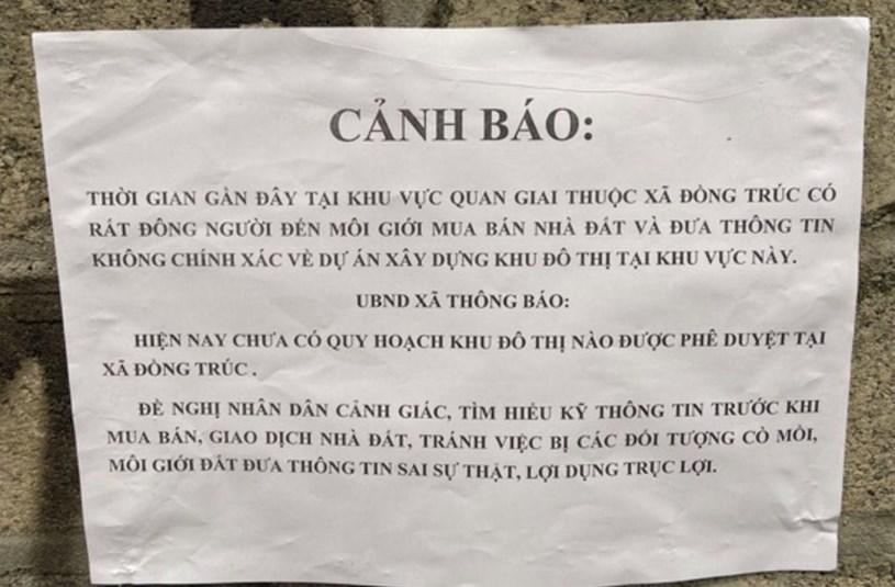 Chính quyền địa phương thông báo, chưa có quy hoạch khu đô thị nào được duyệt tại xã Đồng Trúc.