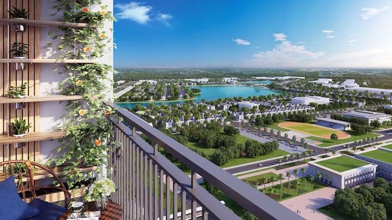 View toàn cảnh hồ điều hòa trung tâm từ căn hộ Masteri Waterfront