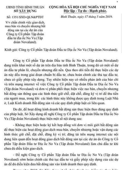 Văn bản củaSở Xây dựng tỉnh Bình Thuận.
