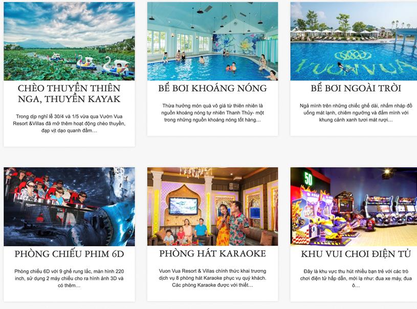 Các hoạt động giải trí tại khu nghỉ dưỡng Vườn Vua