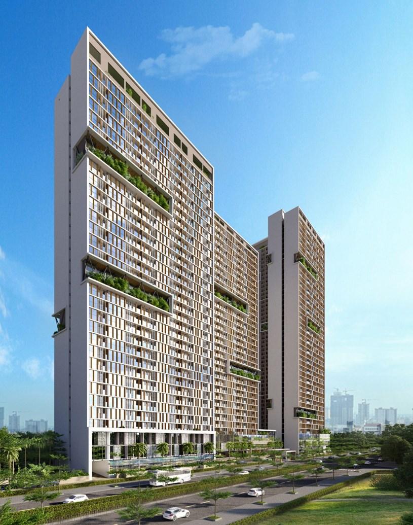 Những không gian xanh được xây dựng xen kẽ như làm dịu mát tòa nhà 34 tầng