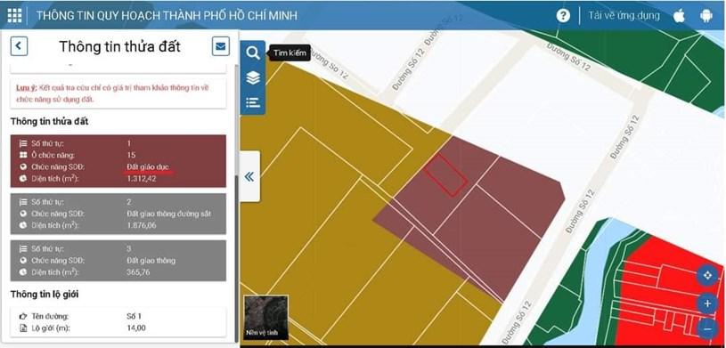 Theo Bản đồ quy hoạch trực tuyến của Sở Quy Hoạch Kiến Trúc khu vực đất này đã không còn là Đất Ở, mà được chuyển đổi thành Đất Giáo Dục