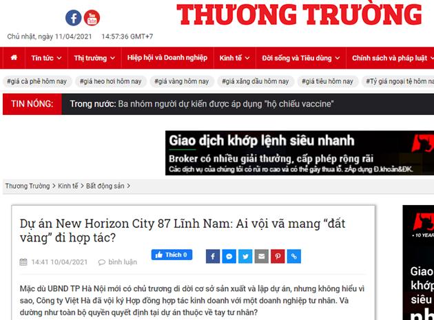 """Dự án New Horizon City 87 Lĩnh Nam: Ai vội vã mang """"đất vàng"""" đi hợp tác? - Ảnh 1"""