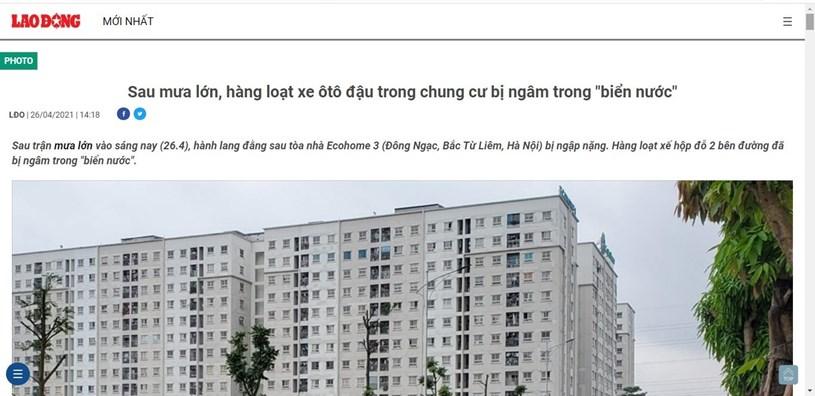 Cư dân KĐT Ecohome 3 tá hỏa khi mua phải căn hộ mỗi khi mưa xuống đường biến thành sông - Ảnh 1