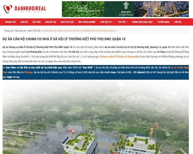 Thông tin quảng cáo dự án nhà ở xã hội Lý Thường Kiệt trên một website. Ảnh: Doanh nghiệp và Đầu tư.